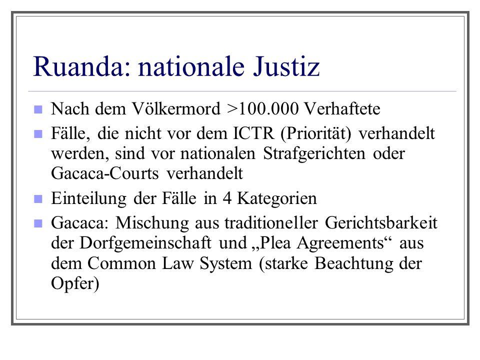 Ruanda: nationale Justiz Nach dem Völkermord >100.000 Verhaftete Fälle, die nicht vor dem ICTR (Priorität) verhandelt werden, sind vor nationalen Stra