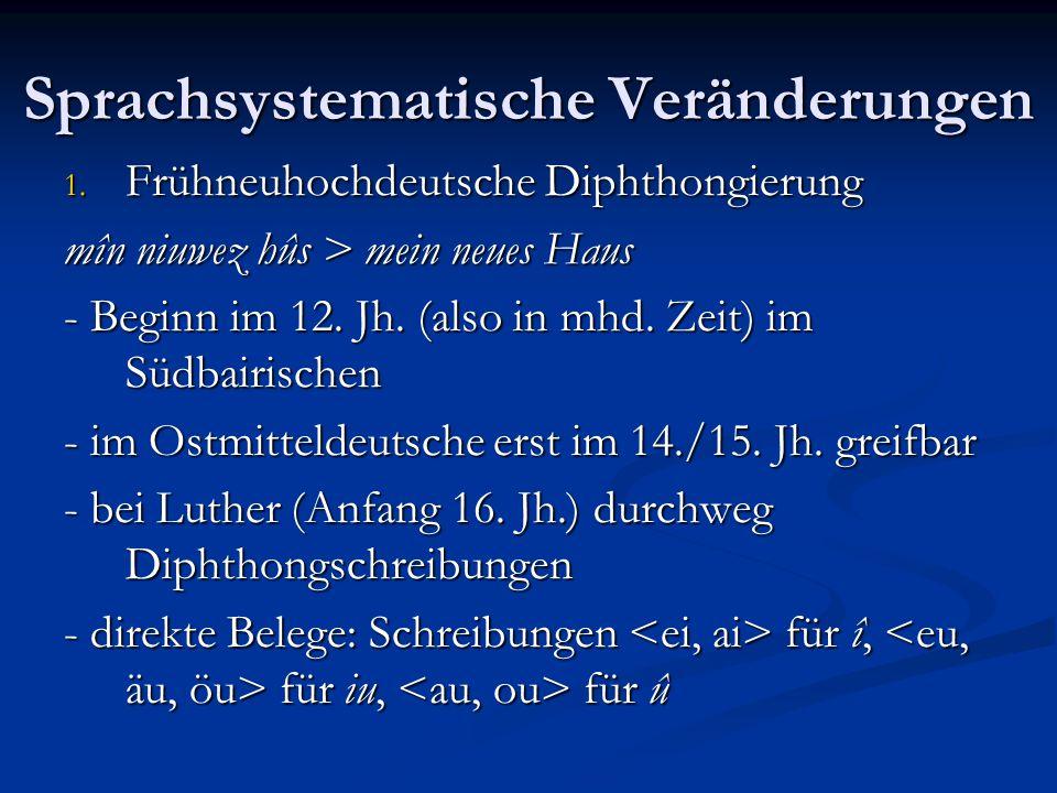 Sprachsystematische Veränderungen 1. Frühneuhochdeutsche Diphthongierung mîn niuwez hûs > mein neues Haus - Beginn im 12. Jh. (also in mhd. Zeit) im S