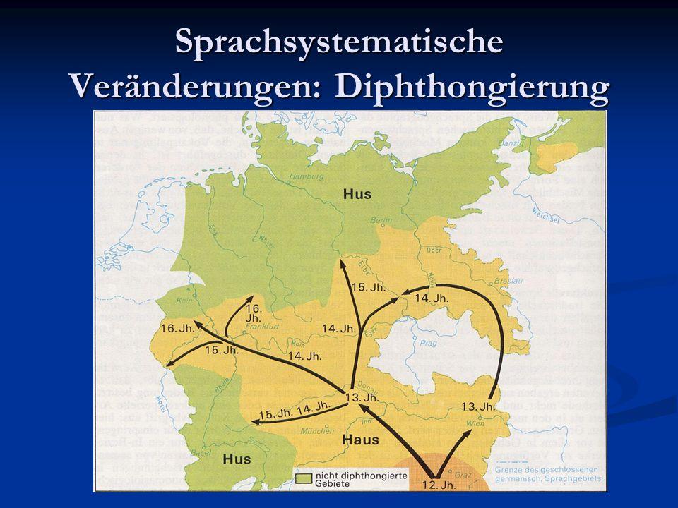 Sprachsystematische Veränderungen: Diphthongierung