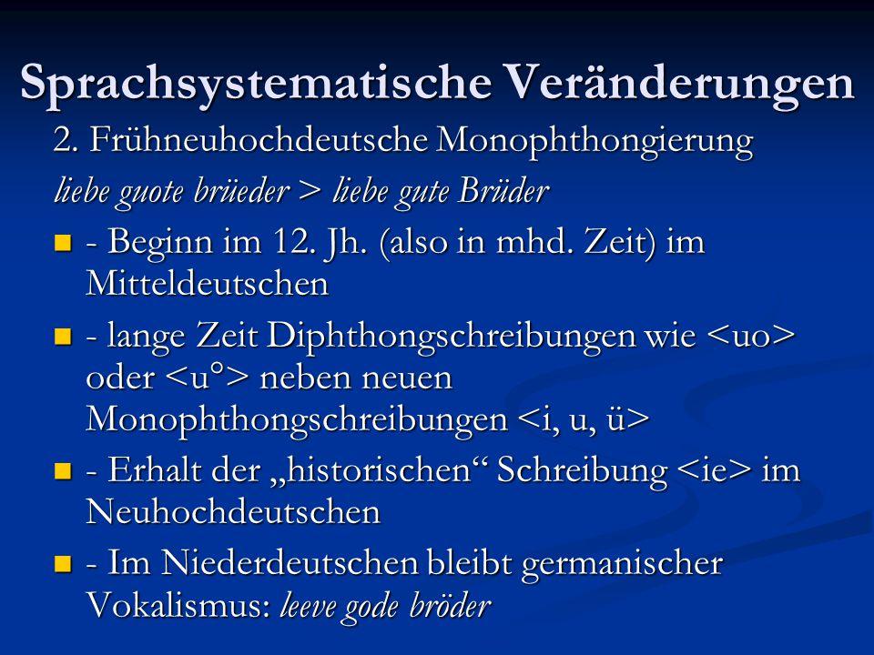 Sprachsystematische Veränderungen 2. Frühneuhochdeutsche Monophthongierung liebe guote brüeder > liebe gute Brüder - Beginn im 12. Jh. (also in mhd. Z