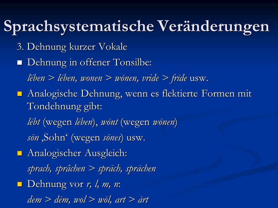 Sprachsystematische Veränderungen 3. Dehnung kurzer Vokale Dehnung in offener Tonsilbe: Dehnung in offener Tonsilbe: lëben > lēben, wonen > wōnen, vri