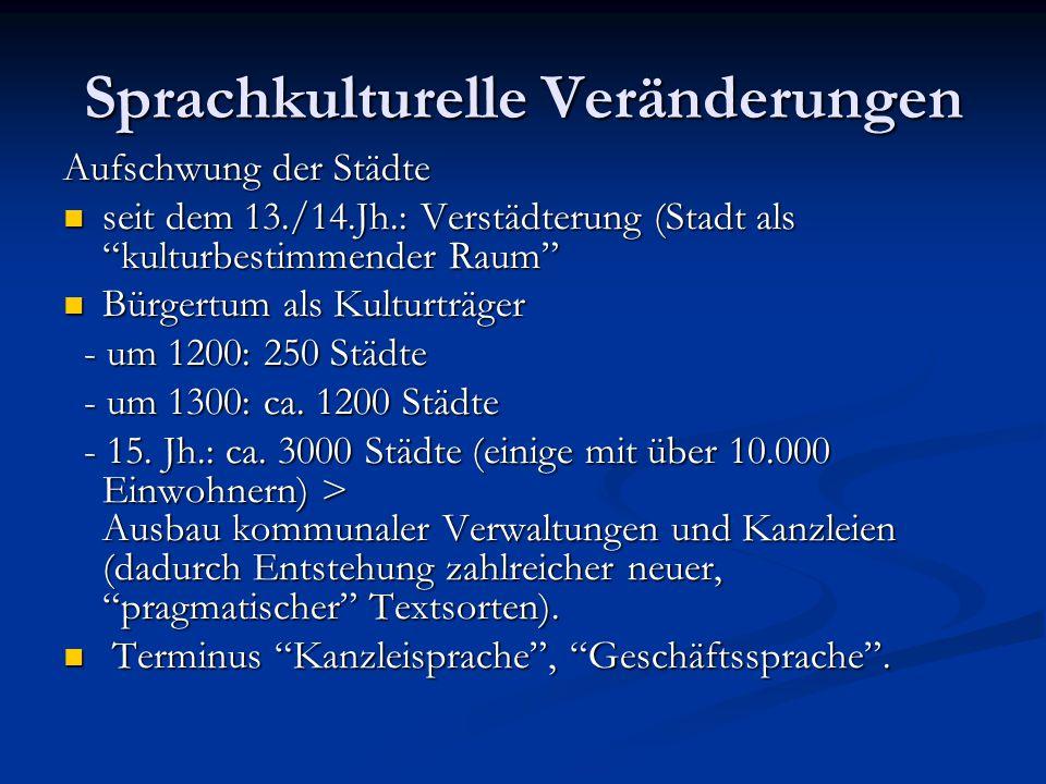 """Sprachkulturelle Veränderungen Aufschwung der Städte seit dem 13./14.Jh.: Verstädterung (Stadt als """"kulturbestimmender Raum"""" seit dem 13./14.Jh.: Vers"""