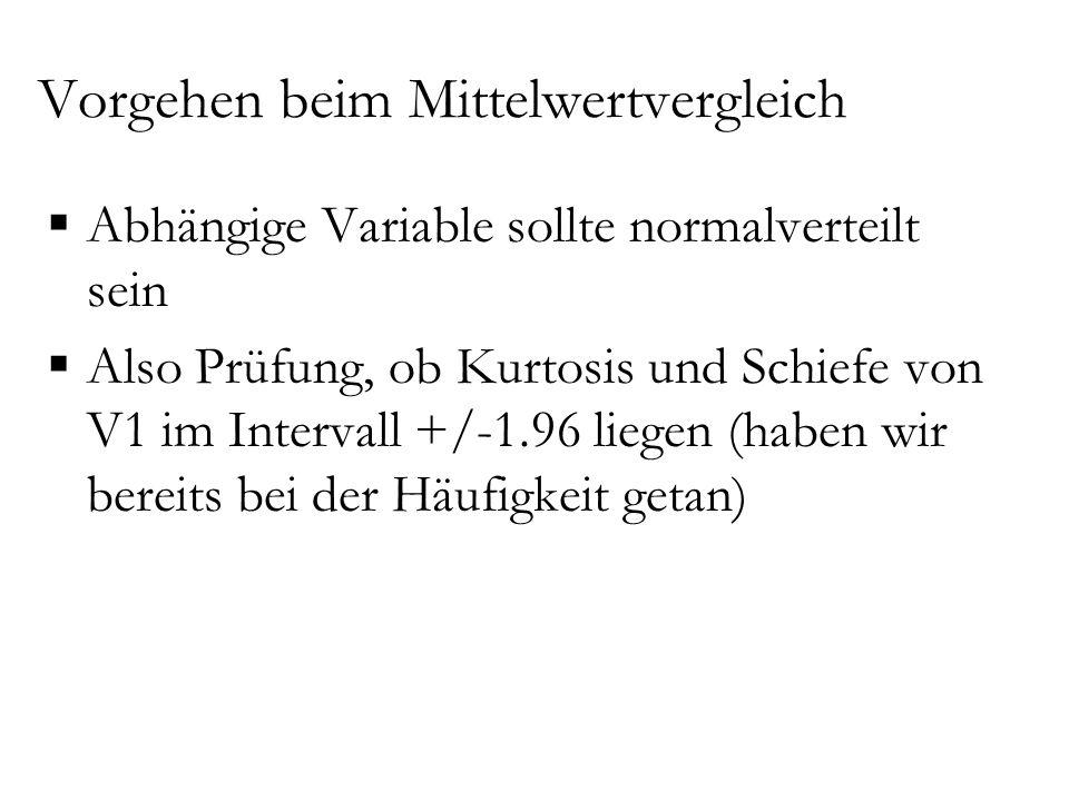 Vorgehen beim Mittelwertvergleich  Abhängige Variable sollte normalverteilt sein  Also Prüfung, ob Kurtosis und Schiefe von V1 im Intervall +/-1.96
