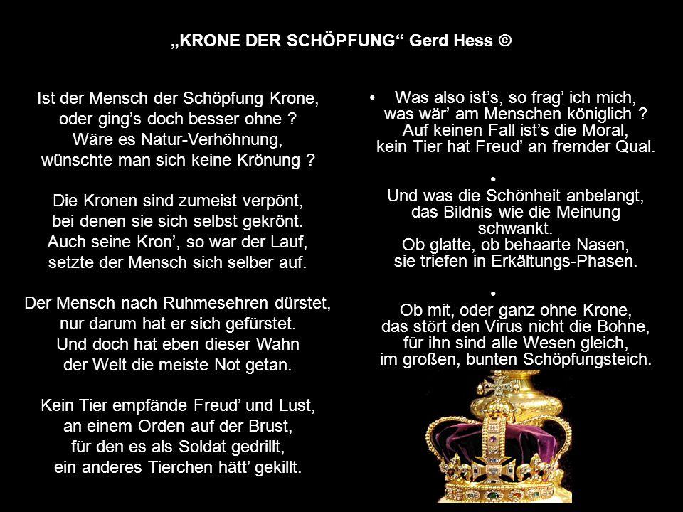 """""""KRONE DER SCHÖPFUNG Gerd Hess © Was also ist's, so frag' ich mich, was wär' am Menschen königlich ."""