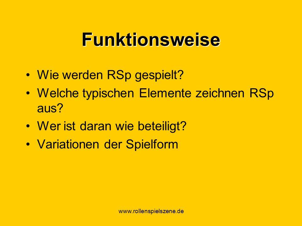 www.rollenspielszene.de Funktionsweise Wie werden RSp gespielt.