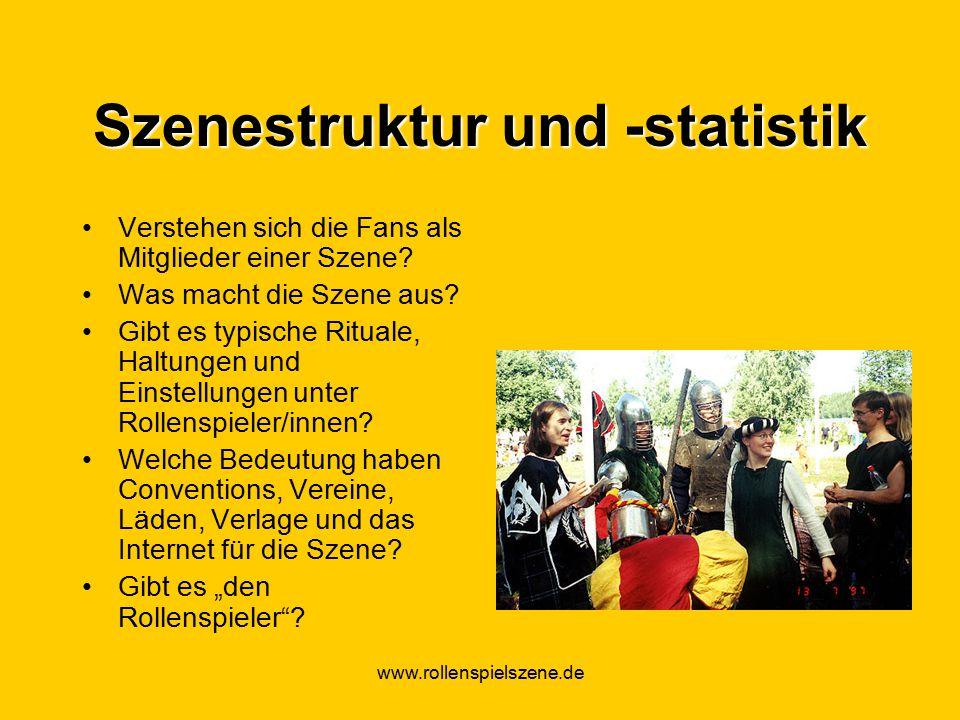 www.rollenspielszene.de Szenestruktur und -statistik Verstehen sich die Fans als Mitglieder einer Szene.
