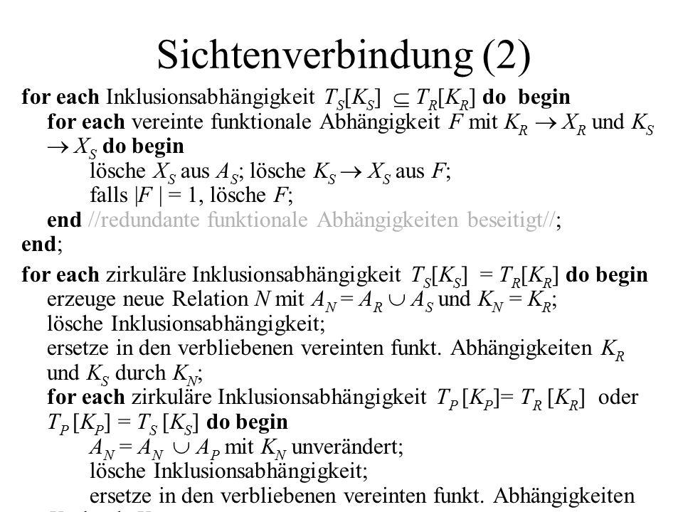 Sichtenverbindung (2) for each Inklusionsabhängigkeit T S [K S ]  T R [K R ] do begin for each vereinte funktionale Abhängigkeit F mit K R  X R und K S  X S do begin lösche X S aus A S ; lösche K S  X S aus F; falls |F | = 1, lösche F; end //redundante funktionale Abhängigkeiten beseitigt//; end; for each zirkuläre Inklusionsabhängigkeit T S [K S ] = T R [K R ] do begin erzeuge neue Relation N mit A N = A R  A S und K N = K R ; lösche Inklusionsabhängigkeit; ersetze in den verbliebenen vereinten funkt.