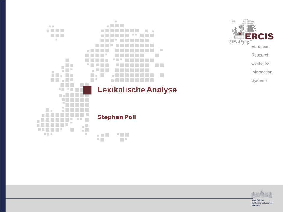 41 Zusammenfassung Lexikalische Analyse Zerlegen des Eingabestroms in atomare Einheiten Erkennen von Einheiten auf Basis vordefinierter Struktur  reguläre Ausdrücke Konstruktion von endlichen Automaten zu regulären Ausdrücken Simulation der Automaten zur Überprüfung einer Eingabe