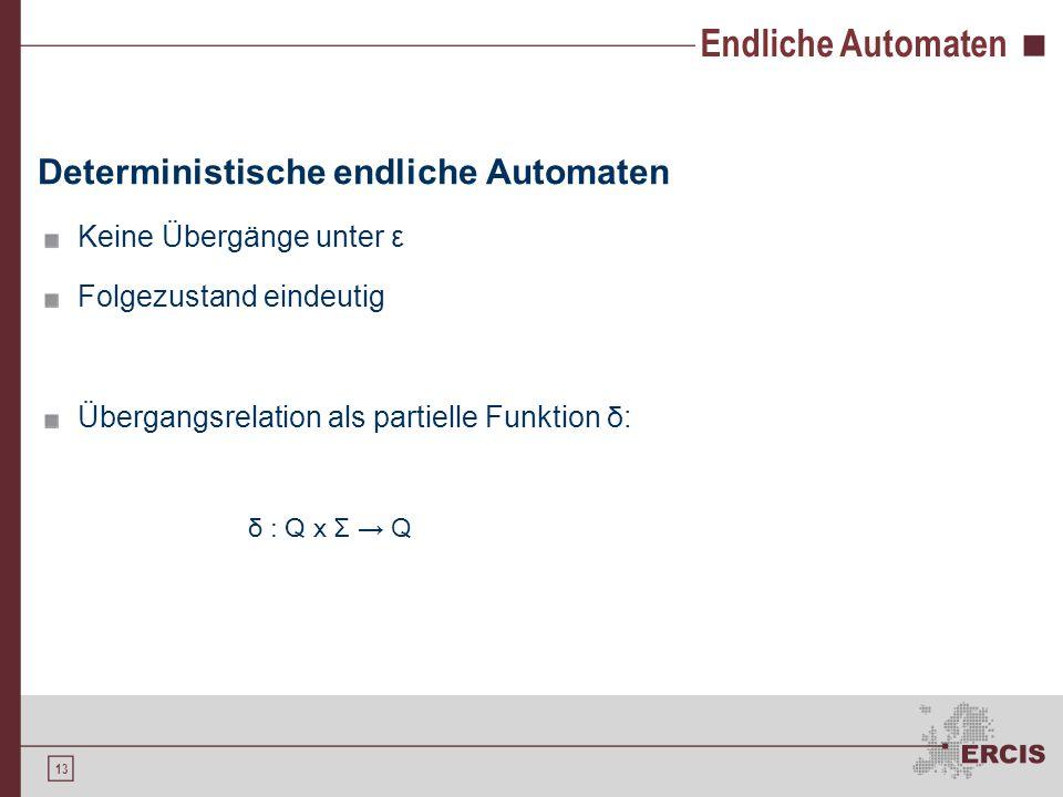 13 Endliche Automaten Deterministische endliche Automaten Keine Übergänge unter ε Folgezustand eindeutig Übergangsrelation als partielle Funktion δ :