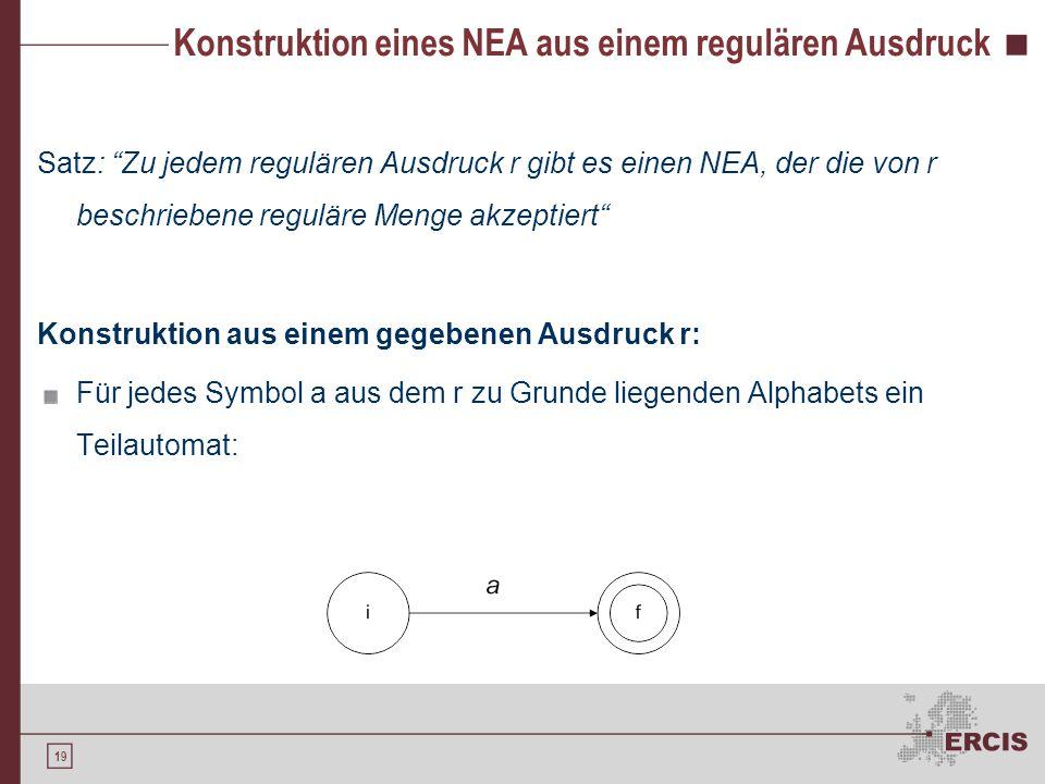 """19 Konstruktion eines NEA aus einem regulären Ausdruck Satz: """"Zu jedem regulären Ausdruck r gibt es einen NEA, der die von r beschriebene reguläre Men"""