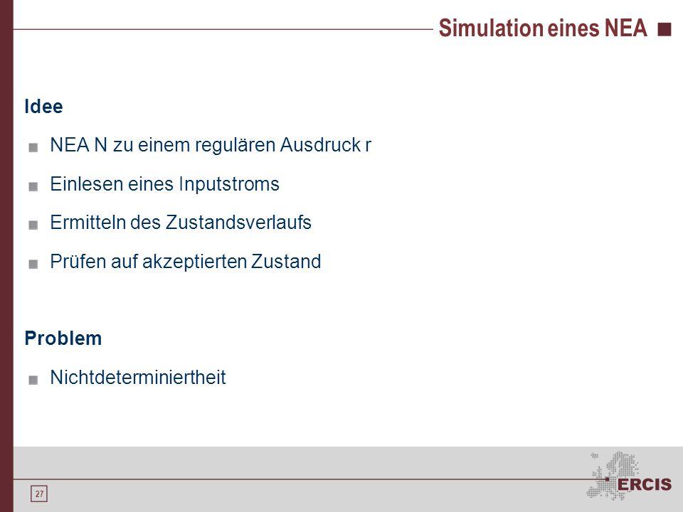 27 Simulation eines NEA Idee NEA N zu einem regulären Ausdruck r Einlesen eines Inputstroms Ermitteln des Zustandsverlaufs Prüfen auf akzeptierten Zus