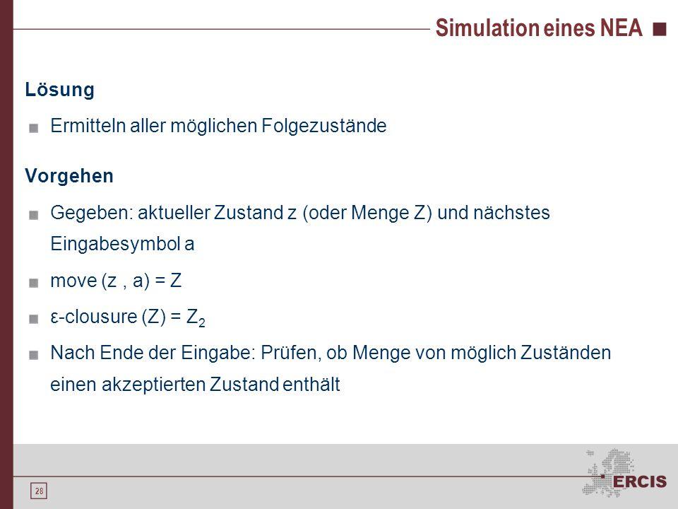 28 Simulation eines NEA Lösung Ermitteln aller möglichen Folgezustände Vorgehen Gegeben: aktueller Zustand z (oder Menge Z) und nächstes Eingabesymbol