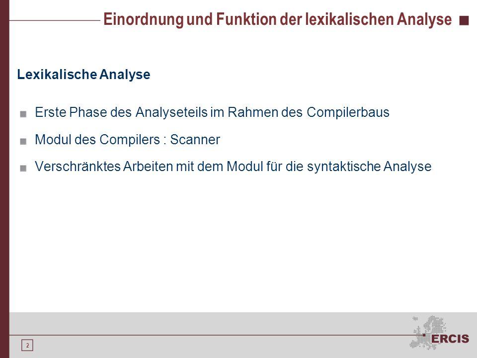2 Einordnung und Funktion der lexikalischen Analyse Lexikalische Analyse Erste Phase des Analyseteils im Rahmen des Compilerbaus Modul des Compilers :