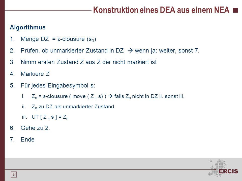 31 Konstruktion eines DEA aus einem NEA Algorithmus 1.Menge DZ = ε-clousure (s 0 ) 2.Prüfen, ob unmarkierter Zustand in DZ  wenn ja: weiter, sonst 7.
