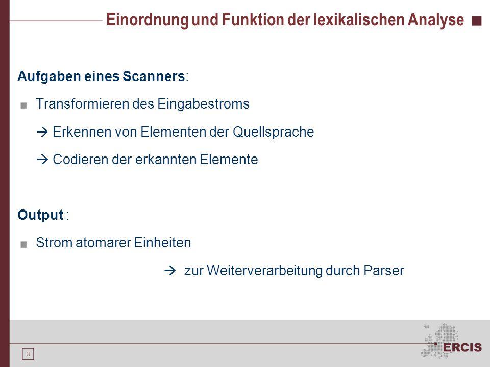 3 Einordnung und Funktion der lexikalischen Analyse Aufgaben eines Scanners: Transformieren des Eingabestroms  Erkennen von Elementen der Quellsprach