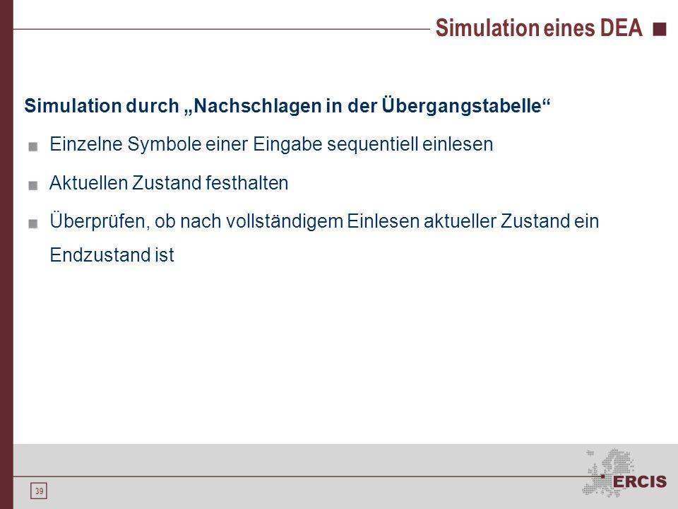 """39 Simulation eines DEA Simulation durch """"Nachschlagen in der Übergangstabelle"""" Einzelne Symbole einer Eingabe sequentiell einlesen Aktuellen Zustand"""