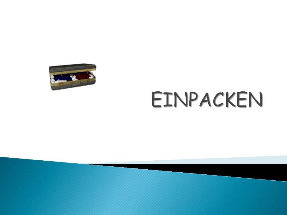 der Rucksack der Fotoapparat der Regenschirm der Anorak das Käsebrot das Hemd das Badetuch das Taschenmesser die Krawatte die Flasche O-Saft 1 7 6 4 8 3 2 5 10 9