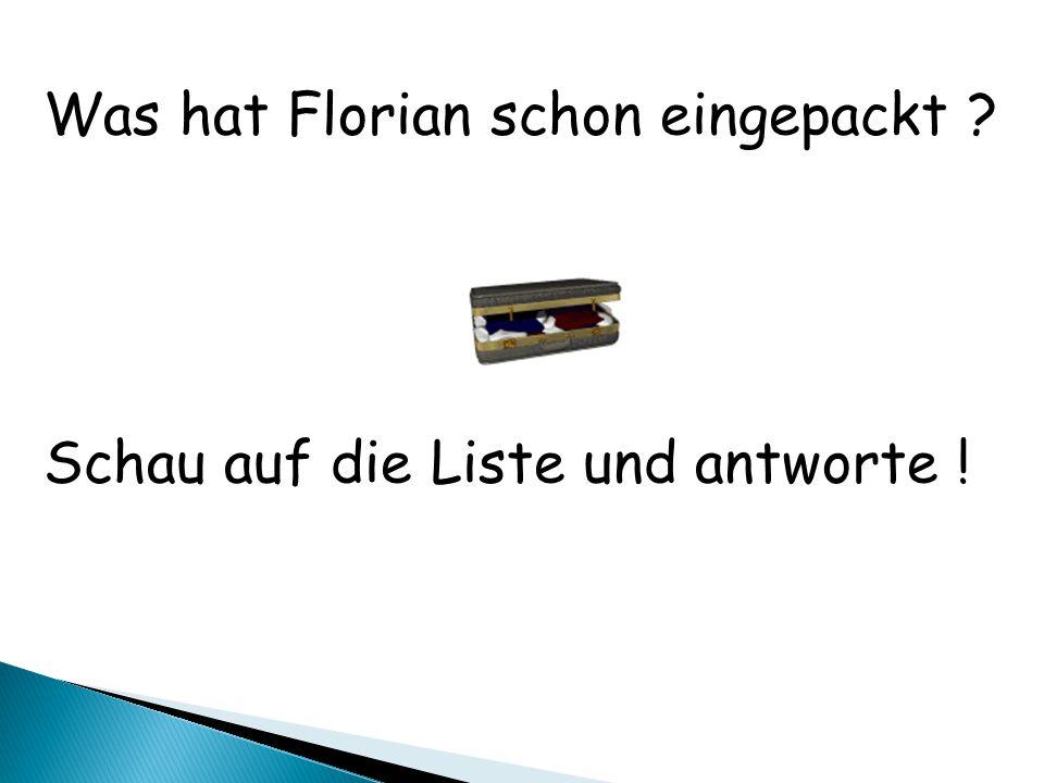 Was hat Florian schon eingepackt ? Schau auf die Liste und antworte !
