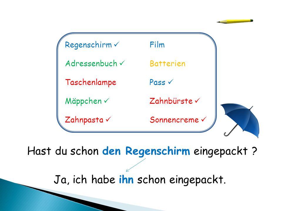 Regenschirm Film Adressenbuch Batterien TaschenlampePass Mäppchen Zahnbürste Zahnpasta Sonnencreme Hast du schon den Regenschirm eingepackt ? Ja, ich