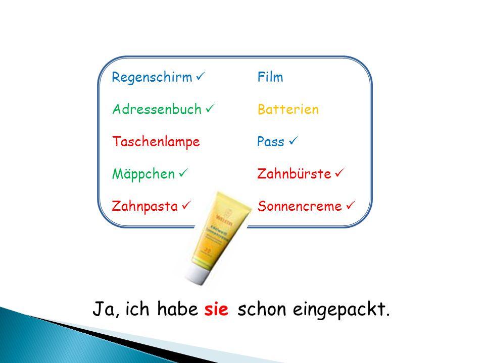 Regenschirm Film Adressenbuch Batterien TaschenlampePass Mäppchen Zahnbürste Zahnpasta Sonnencreme Ja, ich habe sie schon eingepackt.