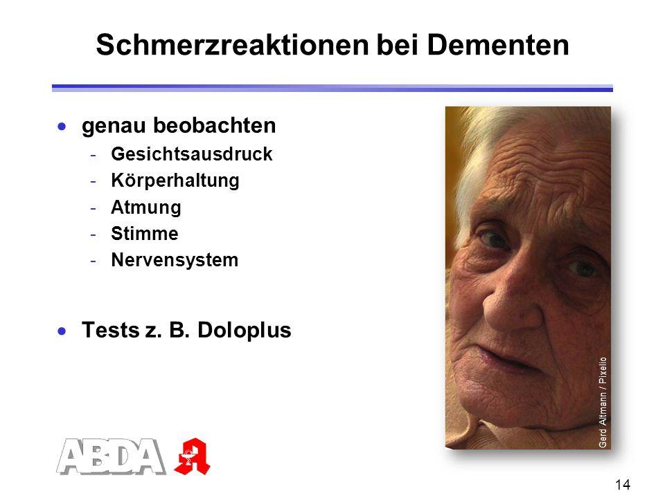 14 Schmerzreaktionen bei Dementen  genau beobachten -Gesichtsausdruck -Körperhaltung -Atmung -Stimme -Nervensystem  Tests z. B. Doloplus Gerd Altman