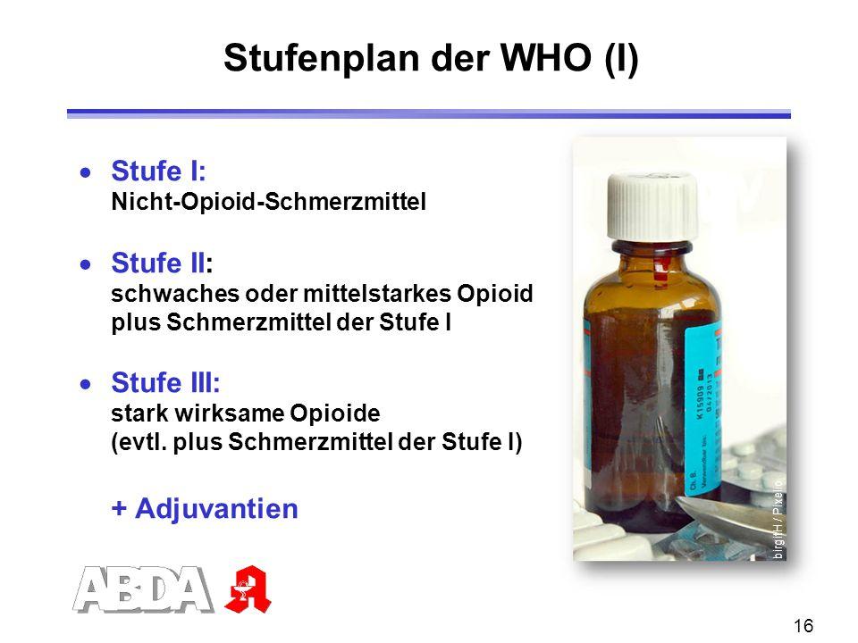 16  Stufe I: Nicht-Opioid-Schmerzmittel  Stufe II: schwaches oder mittelstarkes Opioid plus Schmerzmittel der Stufe I  Stufe III: stark wirksame Op