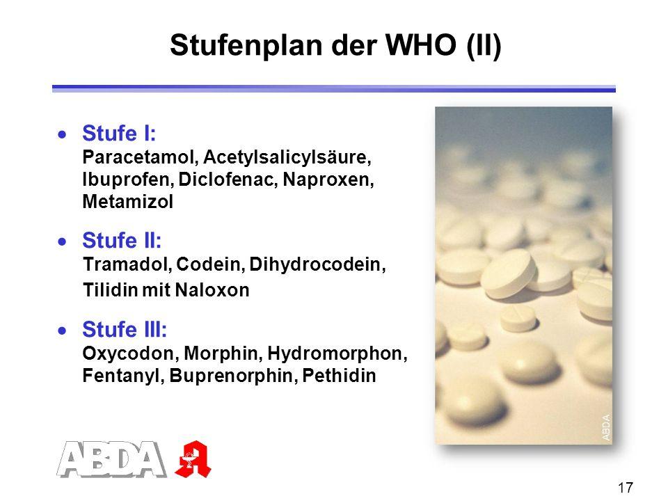 17  Stufe I: Paracetamol, Acetylsalicylsäure, Ibuprofen, Diclofenac, Naproxen, Metamizol  Stufe II: Tramadol, Codein, Dihydrocodein, Tilidin mit Nal