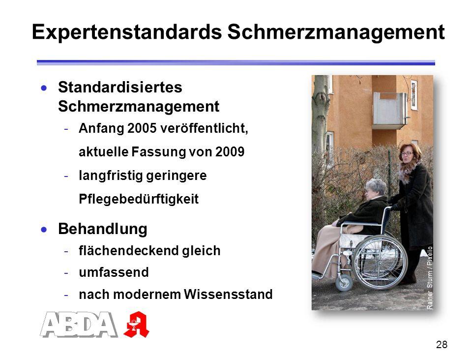 28  Standardisiertes Schmerzmanagement -Anfang 2005 veröffentlicht, aktuelle Fassung von 2009 -langfristig geringere Pflegebedürftigkeit  Behandlung