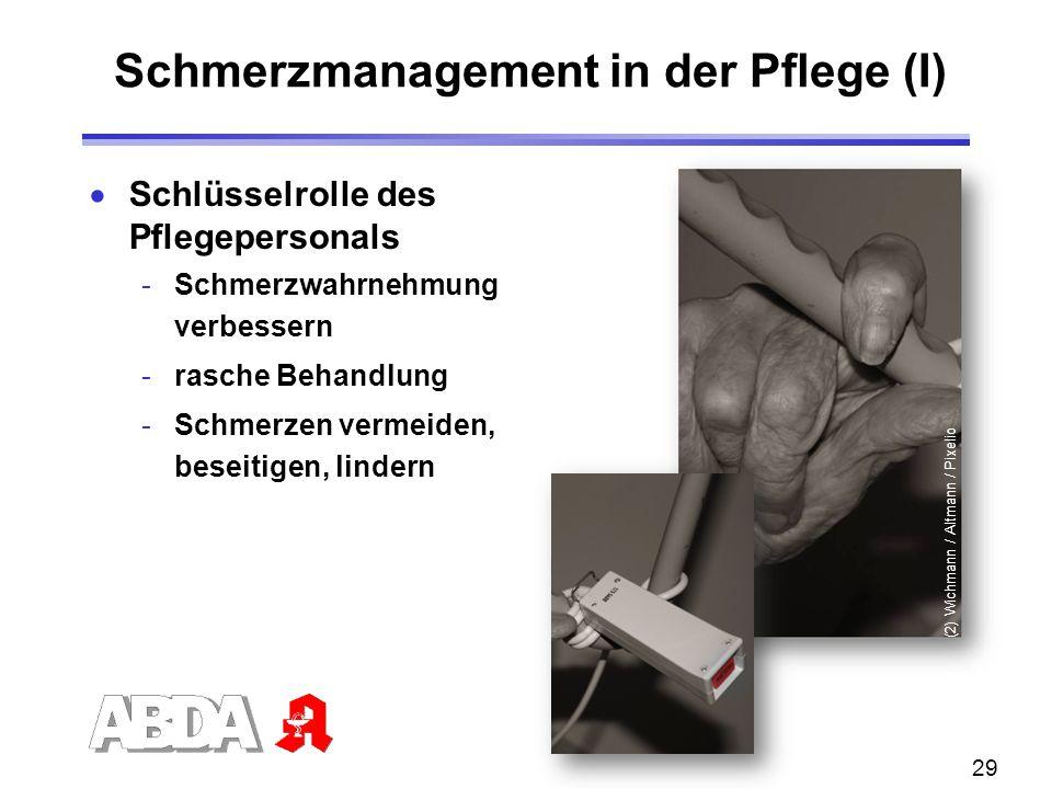 29  Schlüsselrolle des Pflegepersonals -Schmerzwahrnehmung verbessern -rasche Behandlung -Schmerzen vermeiden, beseitigen, lindern Schmerzmanagement