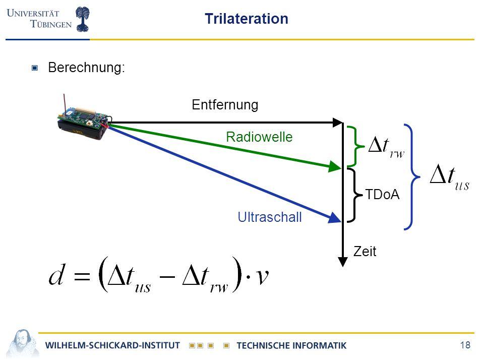 18 Trilateration Berechnung: TDoA Entfernung Zeit Radiowelle Ultraschall