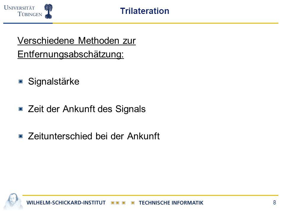 8 Trilateration Verschiedene Methoden zur Entfernungsabschätzung: Signalstärke Zeit der Ankunft des Signals Zeitunterschied bei der Ankunft