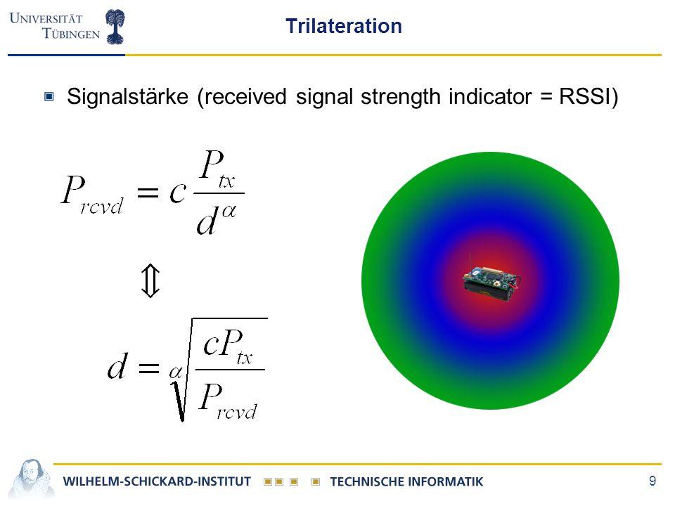 9 Trilateration Signalstärke (received signal strength indicator = RSSI)