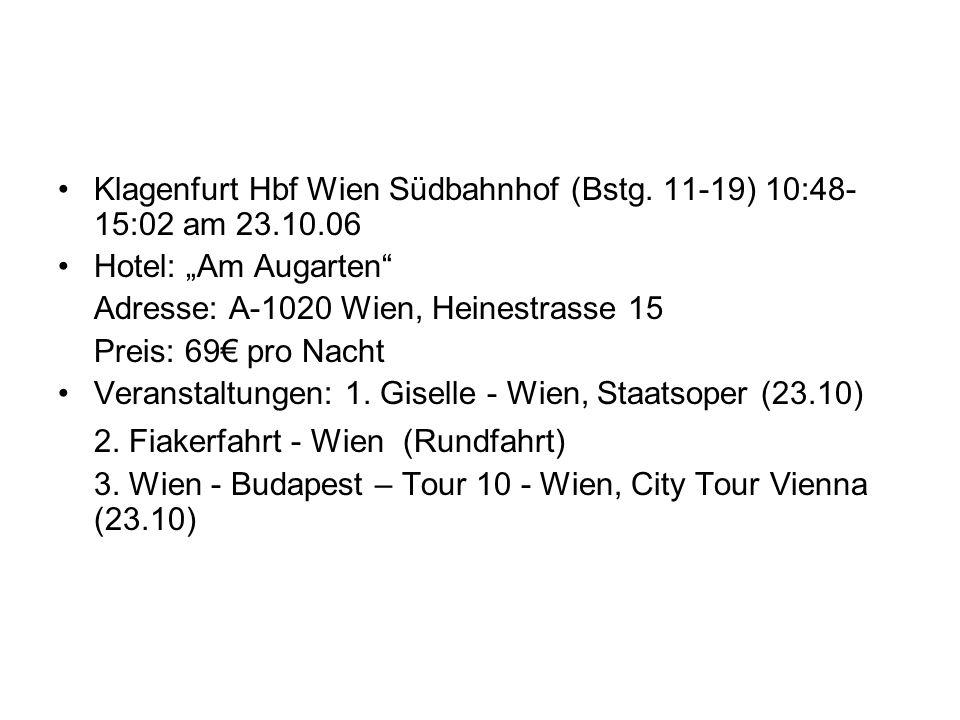 Abfahrt + Ankunft Klagenfurt Hbf Wien Südbahnhof (Bstg. 11-19) 10:48-15:02 am 23.10.06