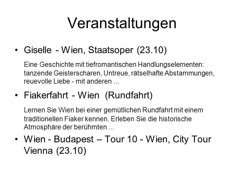 Veranstaltungen Giselle - Wien, Staatsoper (23.10) Eine Geschichte mit tiefromantischen Handlungselementen: tanzende Geisterscharen, Untreue, rätselhafte Abstammungen, reuevolle Liebe - mit anderen...