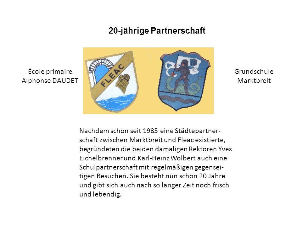 Nachdem schon seit 1985 eine Städtepartner- schaft zwischen Marktbreit und Fleac existierte, begründeten die beiden damaligen Rektoren Yves Eichelbrenner und Karl-Heinz Wolbert auch eine Schulpartnerschaft mit regelmäßigen gegensei- tigen Besuchen.