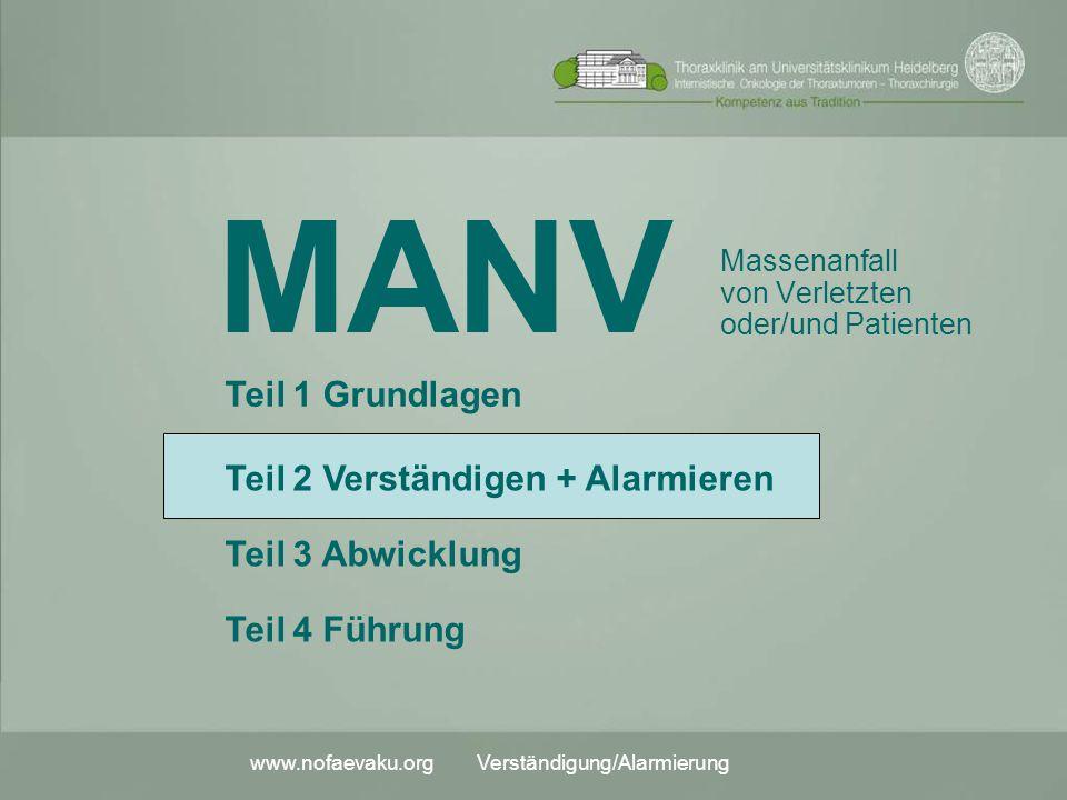 www.nofaevaku.org Verständigung/Alarmierung MANV Massenanfall von Verletzten oder/und Patienten Teil 2 Verständigen + Alarmieren Teil 3 Abwicklung Tei