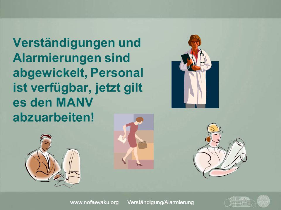 www.nofaevaku.org Verständigung/Alarmierung Verständigungen und Alarmierungen sind abgewickelt, Personal ist verfügbar, jetzt gilt es den MANV abzuarb