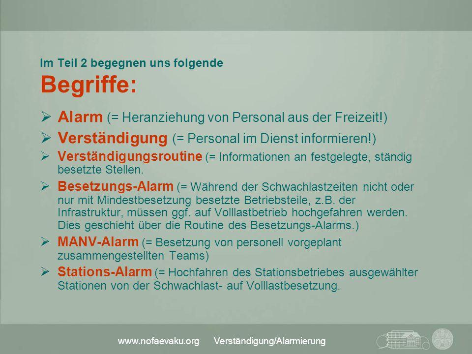 www.nofaevaku.org Verständigung/Alarmierung Im Teil 2 begegnen uns folgende Begriffe:  Alarm (= Heranziehung von Personal aus der Freizeit!)  Verstä