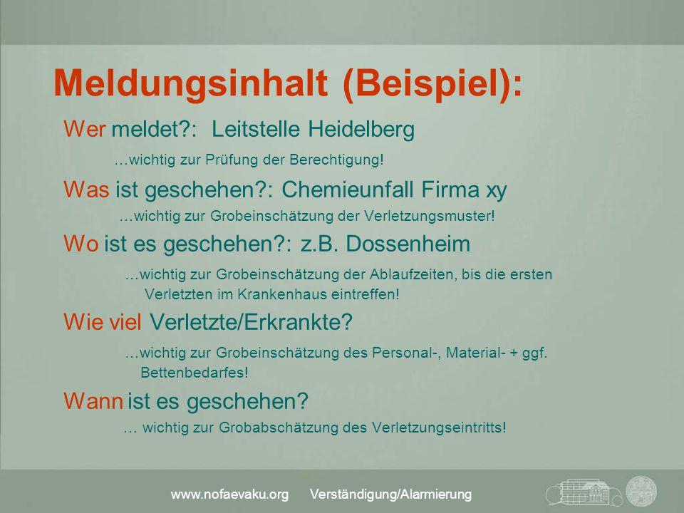 www.nofaevaku.org Verständigung/Alarmierung Meldungsinhalt (Beispiel): Wer meldet?: Leitstelle Heidelberg …wichtig zur Prüfung der Berechtigung! Was i
