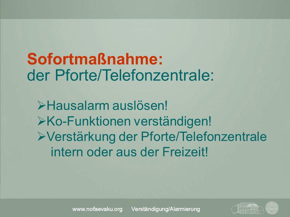 www.nofaevaku.org Verständigung/Alarmierung der Pforte/Telefonzentrale:  Hausalarm auslösen!  Ko-Funktionen verständigen!  Verstärkung der Pforte/T