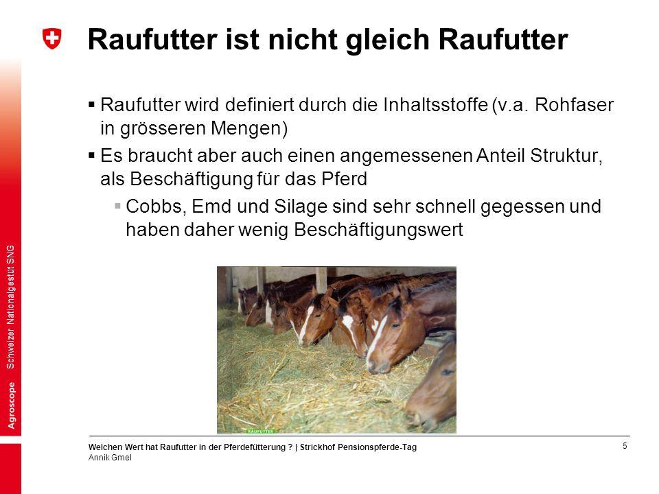 5 Welchen Wert hat Raufutter in der Pferdefütterung ? | Strickhof Pensionspferde-Tag Annik Gmel Schweizer Nationalgestüt SNG Raufutter ist nicht gleic