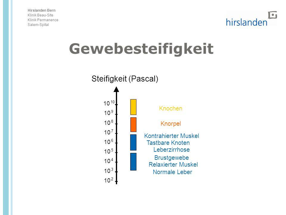 Hirslanden Bern Klinik Beau-Site Klinik Permanence Salem-Spital Gewebesteifigkeit Steifigkeit (Pascal) 10 2 3 4 5 6 7 8 9 Knochen Knorpel Kontrahierte