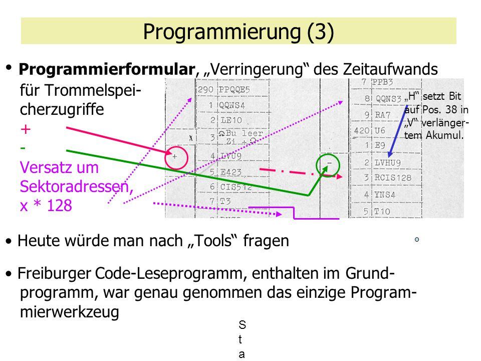 """Programmierung (3) Programmierformular, """"Verringerung"""" des Zeitaufwands für Trommelspei- cherzugriffe + - Versatz um Sektoradressen, x * 128 Heute wür"""