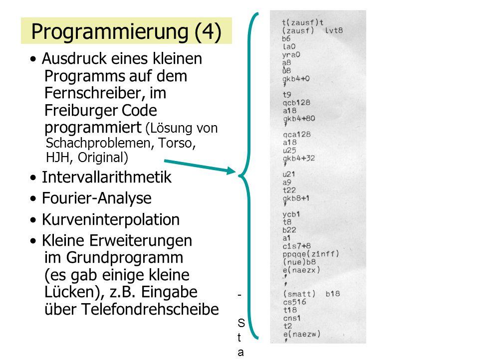 Programmierung (4) Ausdruck eines kleinen Programms auf dem Fernschreiber, im Freiburger Code programmiert (Lösung von Schachproblemen, Torso, HJH, Or