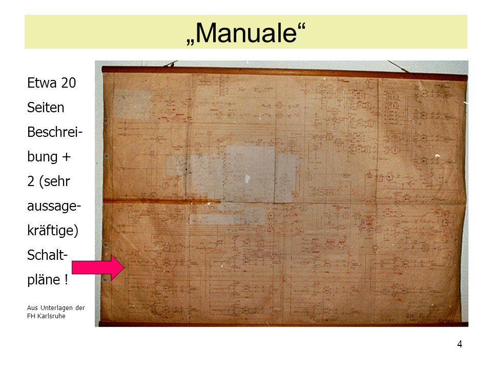 """4 """"Manuale"""" Etwa 20 Seiten Beschrei- bung + 2 (sehr aussage- kräftige) Schalt- pläne ! Aus Unterlagen der FH Karlsruhe"""