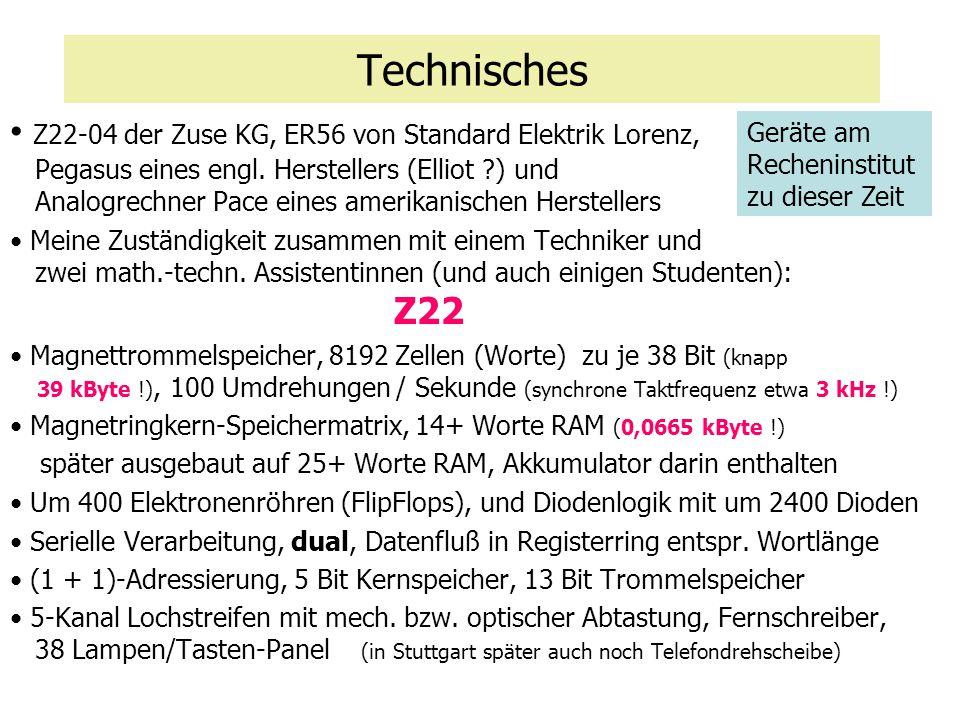 Technisches Z22-04 der Zuse KG, ER56 von Standard Elektrik Lorenz, Pegasus eines engl. Herstellers (Elliot ?) und Analogrechner Pace eines amerikanisc