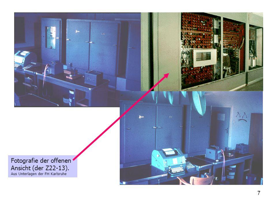 7 Fotografie der offenen Ansicht (der Z22-13). Aus Unterlagen der FH Karlsruhe