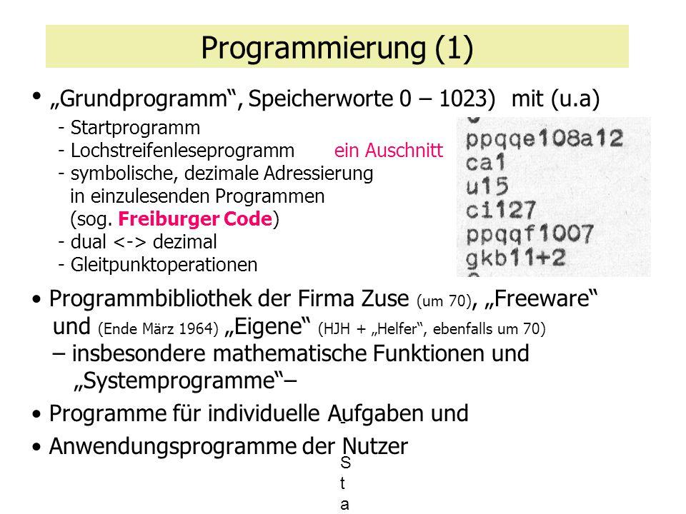 """Programmierung (2) """"Grundprogramm , Speicherworte 0 – 1023) – Ausschnitt, Worte 0 bis 31 Registerbelegung und Hilfsspeicher Ururprogramm, Urpro- gramm und Einsprung in Leseprogramm Leseprogramm 256 W."""