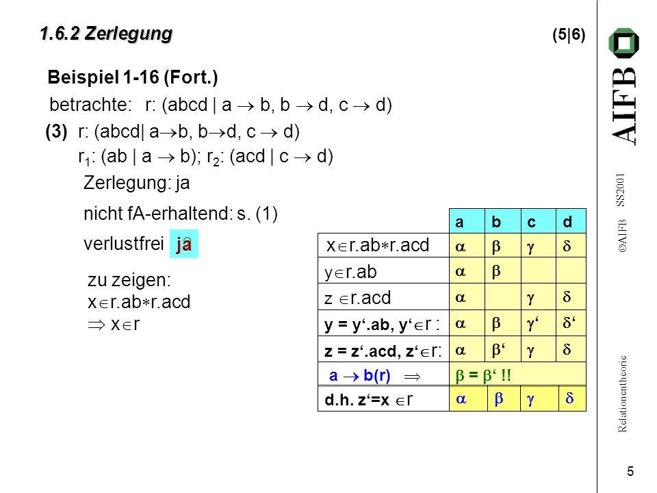 Relationentheorie  AIFB SS2001 5 1.6.2 Zerlegung 1.6.2 Zerlegung (5|6) (3)r: (abcd| a  b, b  d, c  d) r 1 : (ab | a  b); r 2 : (acd | c  d) Zerlegung: ja nicht fA-erhaltend: s.