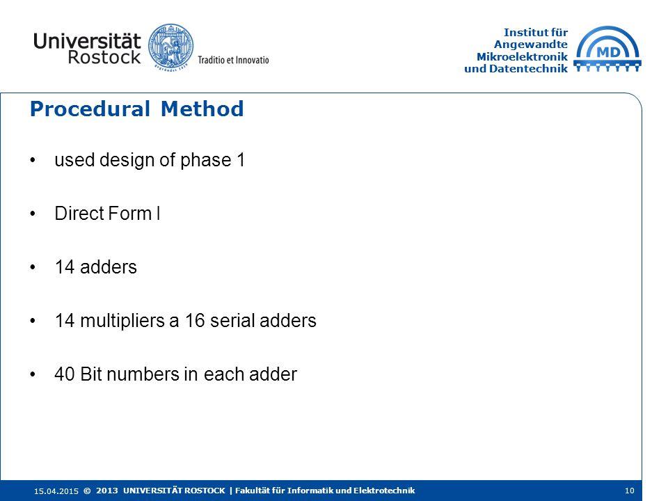 Institut für Angewandte Mikroelektronik und Datentechnik Institut für Angewandte Mikroelektronik und Datentechnik Procedural Method 15.04.2015 10© 201